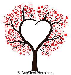 cuori, isolato, vettore, albero