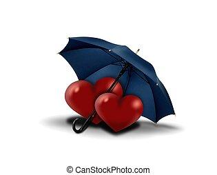 cuori, ombrello, amore, sotto