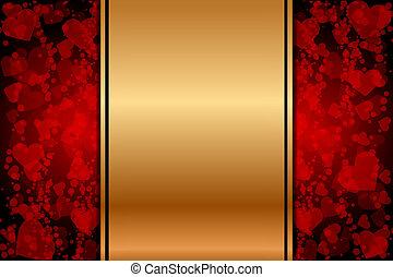 cuori, oro, fondo, rosso