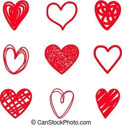 cuori, scarabocchio, rosso, highlighter