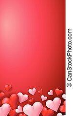 cuori, sfondo rosso