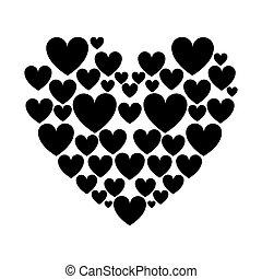 cuori, silhouette, amore