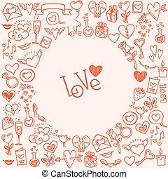 cuori, sketchy, amore, doodles
