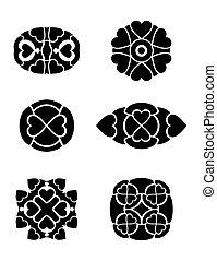 cuori, tribale, vettore, set, tatuaggio