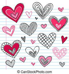 cuori, valentine, amore, giorno, doodles