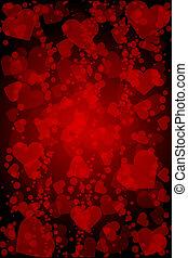 cuori, vettore, sfondo rosso