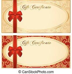 cupão, (bow), comprovante, certificado presente