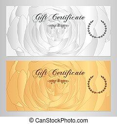 cupão, comprovante, certificado presente