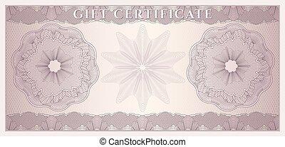 cupão, coucher, certificado presente