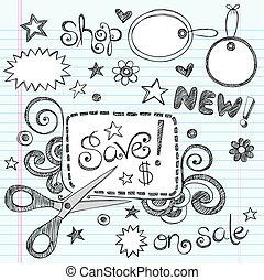 cupão, doodle, tesouras, venda, vetorial
