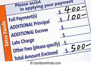 cupão, pagamento, hipoteca, preencher