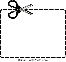cupão, scissor, cutout, isolado, em branco