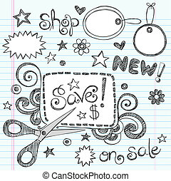 cupão, tesouras, vetorial, venda, doodle