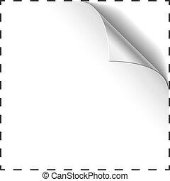 cupão, vetorial, corner., modelo, em branco, ondulado