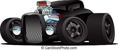 cupê, car, vetorial, vara, quentes, vindima, caricatura, ilustração, costume
