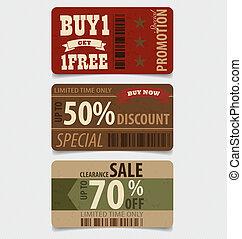 cupón, estilo, vendimia, venta, vale, vector, diseño,...