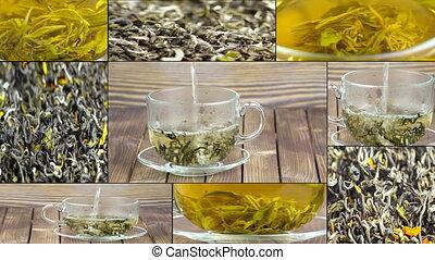 cup., être, thé, verre, time., versé, pouring., transparent