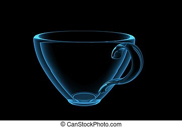 cup 3D xray blue transparent