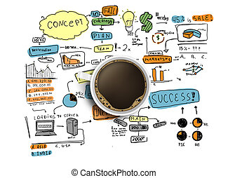cup and colorized business strategy - coffee cup and...