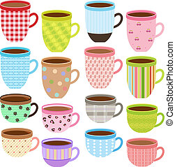 Cup and Mug in Pastel color - Vector collection of Cup and...