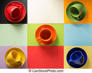 cup and saucer at abstract background