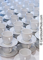 Cup And Saucer - Many rows of pure white cup and saucer