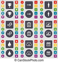 Cup, Arrow right, Silhouette, Gear, Survey, Laptop, Drop, Cassette, Calendar icon symbol. A large set of flat, colored buttons for your design. Vector