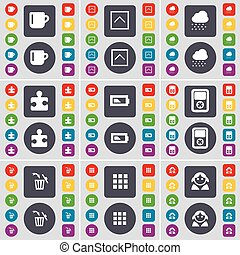 Cup, Arrow up, Cloud, Puzzle part, Battery, Player, Trash can, Apps, Avatar icon symbol. A large set of flat, colored buttons for your design. Vector
