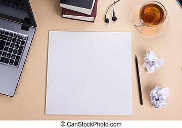 cup., blocco note, vista, ufficio, computer, cima tavola, caffè