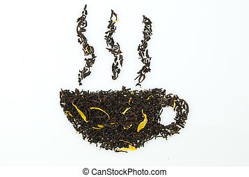 cup build out of tea - a cup of tea or coffe, made out of ...