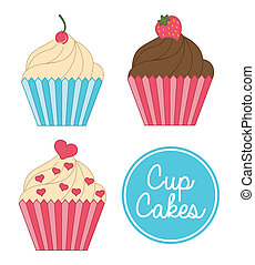 cup cake birthday - cup cake birthday over white background...