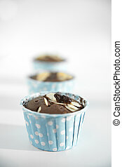 Cup cake, chocolate, blue cup.