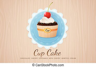 cup cake chocolate cherry on table wood