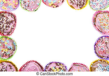 Cup cake frame - Different kind of decorated cup cakes used...