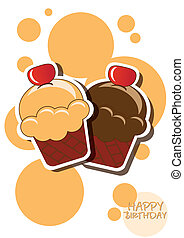Cup cake happy birthday card with bubbles, vector