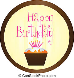cup cake happy birthday circle sign isolated over white...