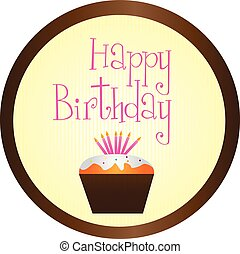 cup cake happy birthday circle sign isolated over white backgrou