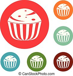 Cup cake icons circle set vector