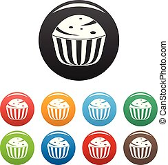 Cup cake icons set color vector