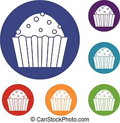 Cup cake icons set