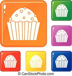 Cup cake icons set vector color
