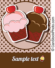 Cup cake invitation background with place for text, vector