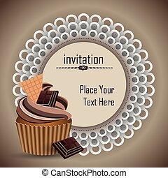 cup cake invitation