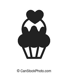 cup cake monochrome bakery icon vector