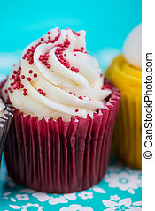 Cup cake on bright background