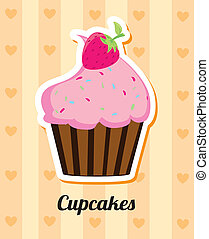 cup cake over pattern background. vector illustration
