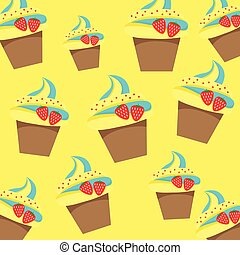 Cup Cake Pattern on Yellow Background Vector Illustration.