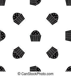 Cup cake pattern seamless black