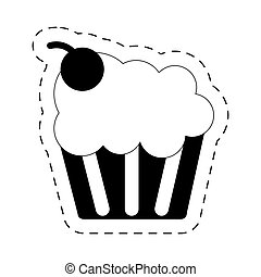 cup cake tasty sweet dessert cherry pictogram