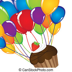 cup cake with balloons